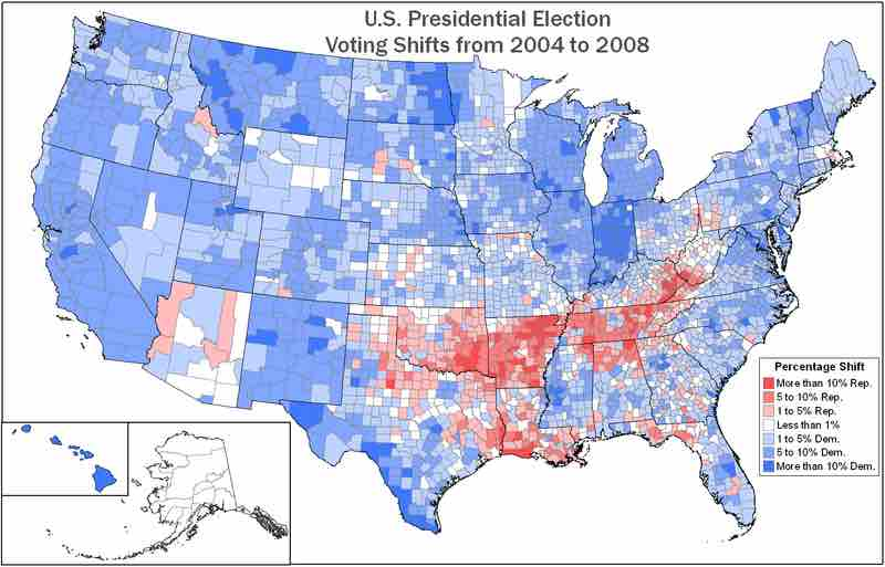 Image: Voting Shifts by County Between the 2004 and 2008 ...