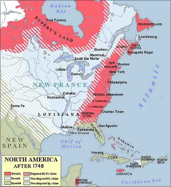 North America Map 1750.Image Map Showing The 1750 Possessions Of Britain Pink France